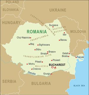 Bucharest on the Romanian Map